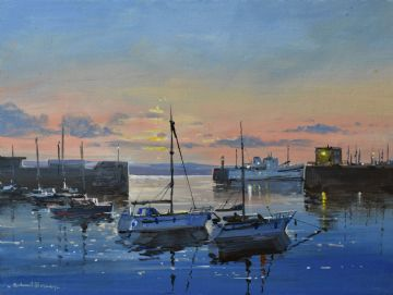 Richard Blowey Original Oil Painting Of Penzance Harbour